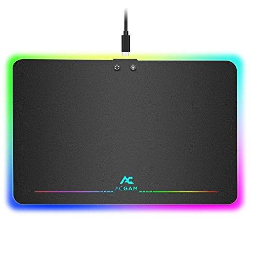 ACGAM P08 RGB Alfombrilla Gaming para Ratón,USB RGB Light 10 Modo-Línea USB enchufable-350mm x 250mm x 0.36mm,iluminación...