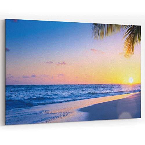 Art Beautiful Sunset Over The Tropical Beach Canvas Art Wall Dcor,068252 36