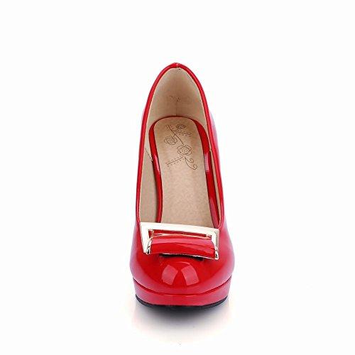 Carolbar Womens Fashion Lackläder Klänning Plattform Pumpar Skor Röd