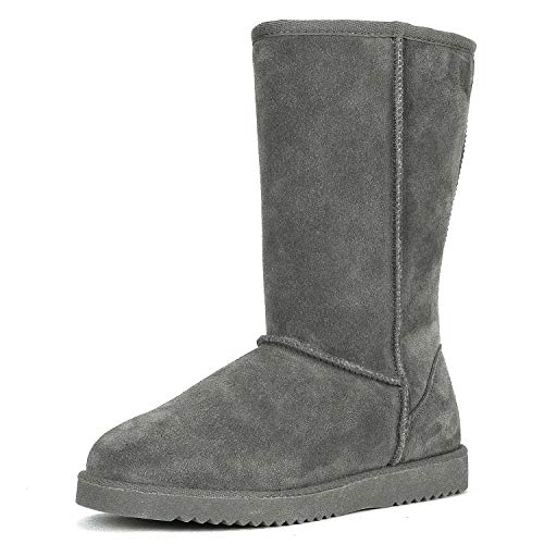 DREAM PAIRS Women's Shorty-HIGH Grey Knee High Winter Snow Boots Size 11 M US ()