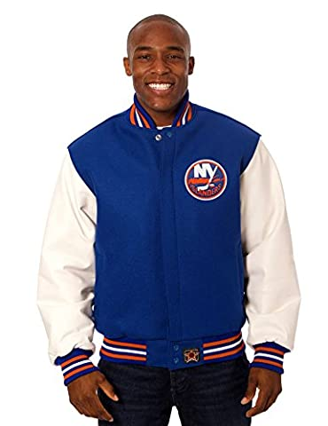 New York Islanders Men's Wool & Leather Varsity Style Jacket with Hand Crafted Leather Team Logos - Youth Hockey Goalie Catcher