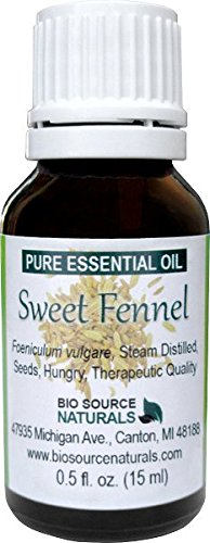 Sweet Fennel (Foeniculum vulgare) Pure Essential Oil 0.5 fl oz / 15 ml - GC Verified - Therapeutic Quality, 100% Pure, Undiluted, Concentrated