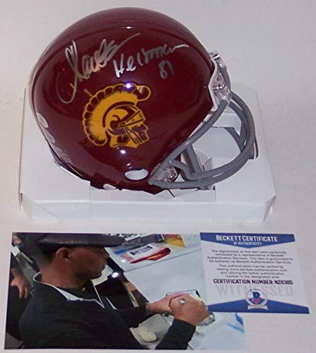 Marcus Allen Autographed Hand Signed USC Trojans Mini Football Helmet - with 81 Heisman Inscription - BAS Beckett (Marcus Allen Autographed Football)