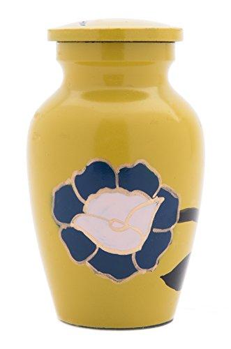 Cremation Urn: Eternity Sunshine Yellow with Blue Flower Brass Vase Urn (KEEPSAKE) ()