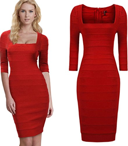 Red Square Neck Dress - 4