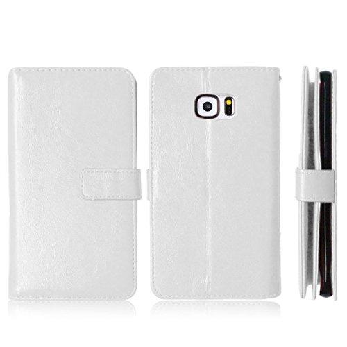 Wkae Case Cover Samsung S6 Edge más la caja, la caja de cuero sólido de color de alta calidad de la PU de la cubierta del caso del soporte de la carpeta para Samsung S6 Edge Plus ( Color : Black , Siz White