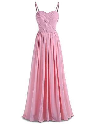 BeryLove Women's Pleats Bridesmaid Dress Long Chiffon Party Gown with Detachable Straps