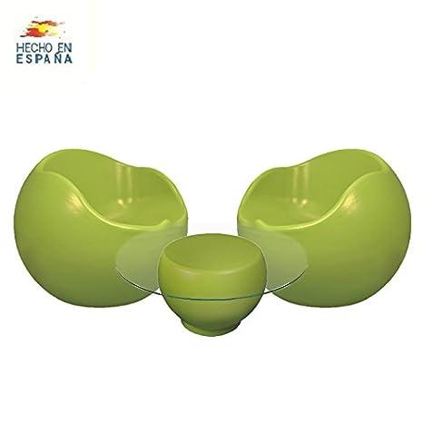 Conjunto de 2 sillones y 1 mesa colección Ou color verde ...