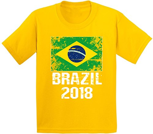Awkward Styles Brazil 2018 Shirt Youth Brazil Flag T Shirt Brazil Soccer Fans Yellow L