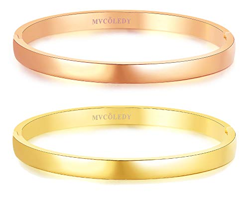 Cartier Jewelry Inspired (MVCOLEDY Jewelry 2 Sets 18 K Gold/Rose Gold Bangle Bracelet High Polished Bangle Shiny Minimalist Stainless Steel Bangle for Women Size 7