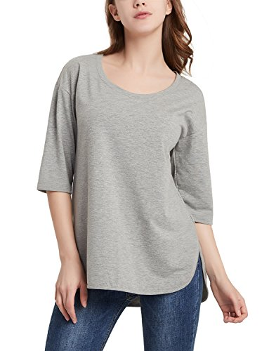 Perfashion Scoop Neck Elbow Sleeve Tunic Shirts Blouse Pullover for Women Grey