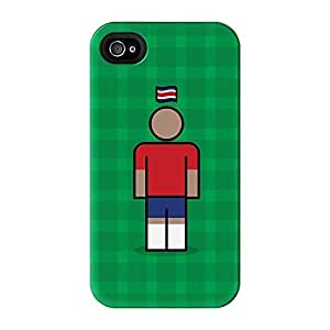 Costa Rica Full Wrap High Quality 3D Printed Case for iPhone 4 / 4s by Blunt Football International + FREE Crystal Clear Screen Protector