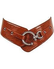 Womens leather Waist Belt wide elastic Strech Waistband with Round Buckle BT004