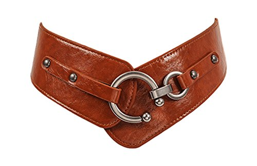 Leather Waist Belt Wide Elastic Strech Waistband With Round Buckle BT004