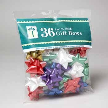 Paper Bows Wrapping (Pack of 36 Christmas Star Bows. Peel-n-stick.)