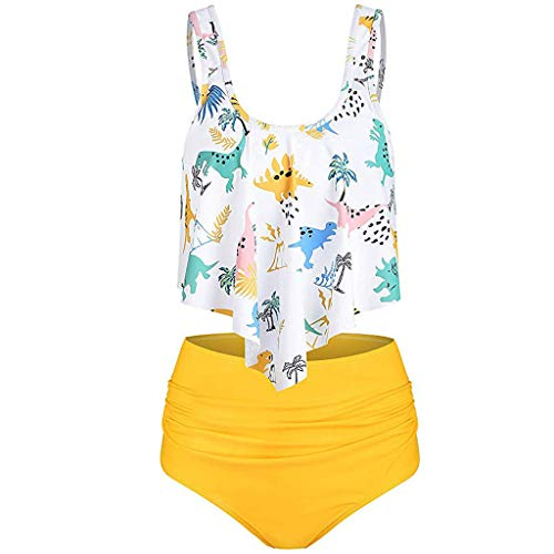 SERYU Women Bikini Set Swimsuit High Waist Dinosaur Print Bathing Suit Beach Swimwear White ()