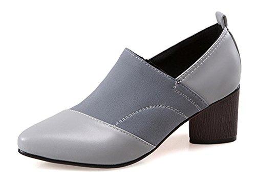 Aisun Femmes Slip Unique Sur Les Mi Talons Chunky Robe Bout Pointu Pompes Chaussures Gris