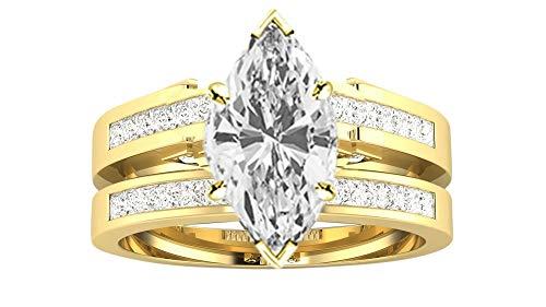 1 Carat 14K Yellow Gold Channel Princess Cut Diamond Engagement Ring Bridal Set Marquise Shape (0.5 Ct H Color VS2 Clarity Center Stone)