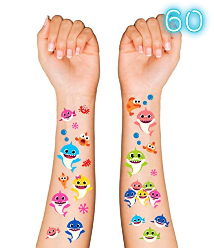 Baby Shark Party Supplies Temporary Tattoos for Kids - 60 Tatoos   Baby Shark Party Favors & Birthday Party Decorations + Halloween Costume