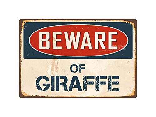 Beware of Giraffe Metal Tin Sign Home Decor Wall Art Room Sign 8 x 12 Inch