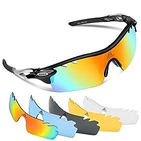 HODGSON Polarized Sports Sunglasses with 5 Interchangeable Lenses for Men Women Cycling Baseball Running Fishing Driving Golf Glasses, Tr90 Unbreakable
