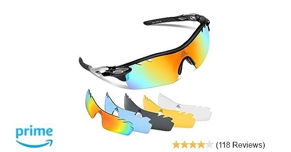 3310e5977d Amazon.com   HODGSON Polarized Sports Sunglasses for Men Women with 5  Interchangeable Lenses   Sports   Outdoors