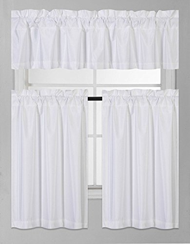 Fancy Collection 3 Pieces Faux Silk Blackout Kitchen Curtain Set Tier Curtains and Valance Set Solid White Window Set Thermal Backing Drapes Assorted Colors - Set Window Curtain Kitchen
