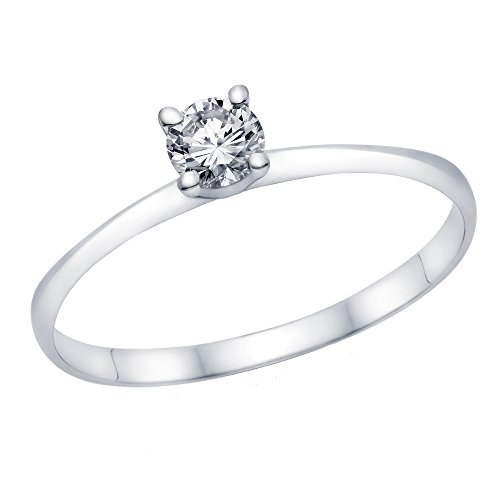 1/3-1/5 ct Certified Diamond Engagement Ring in 14K White Gold (1/5 cttw, L-M Color, I1-I2 Clarity) - Size 4.5 (20 Carat Diamond Ring)