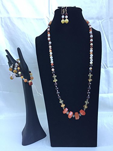 Stunning handmade jewelry set with a necklace, two bracelets and matching dangle earrings. Opal, Citrine, Garnet, and mixed gemstones. One of a kind by The Stonz Project