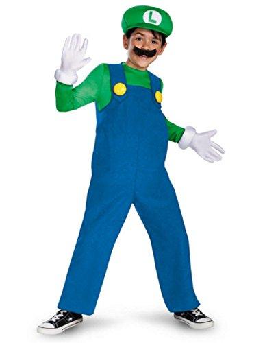 Mario and Luigi Child Costume Luigi (green & blue) - Large