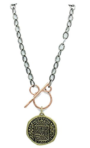 Women's Multi Tone Wax Seal Shape Pendant Toggle Necklace 16in, One piece.