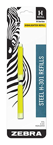 Zebra H-301 Stainless Steel Highlighter HL-Refill, Yellow Ink, 2-Count