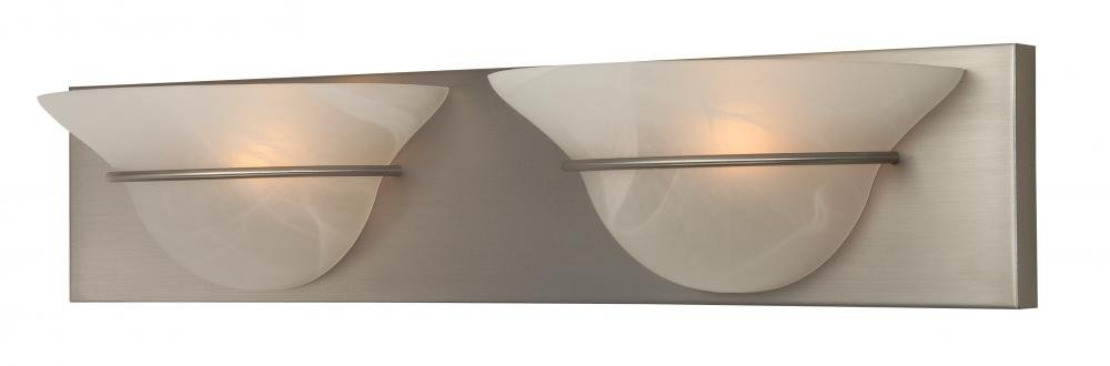 Craftmade 17124BN2 Vanity Light with Alabaster Swirl Glass Shades, Nickel Finish