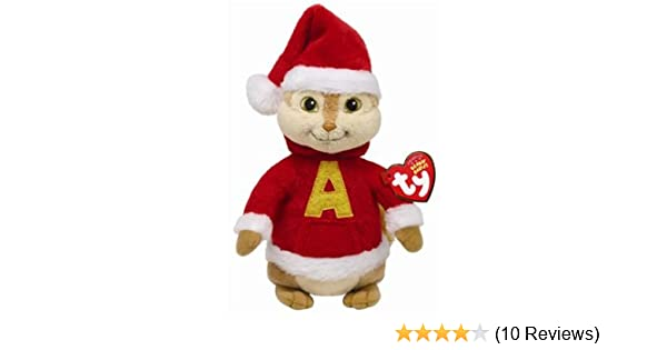234a8a62440 Amazon.com  Ty Beanie Babies Alvin the Chipmunk - Red Santa Holiday Outfit   Toys   Games