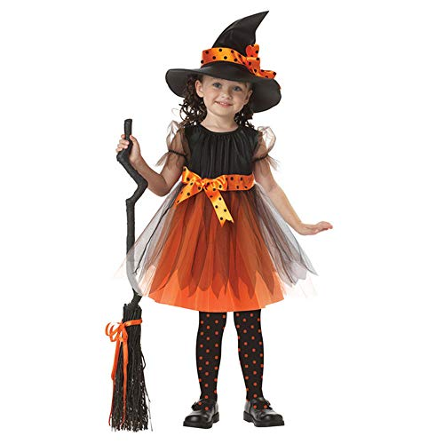 Baby Girls Witch Halloween Costume Toddler Child Party Dress Fairytale Corset Dress Costume with Hat (Orange, 100cm(3-4T))