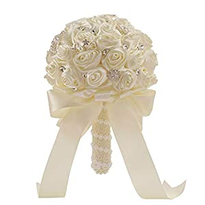 Rainbot Elegant Bride Holding Flowers Bouquet Wedding Bride Or Bridesmaid Bouquet 40
