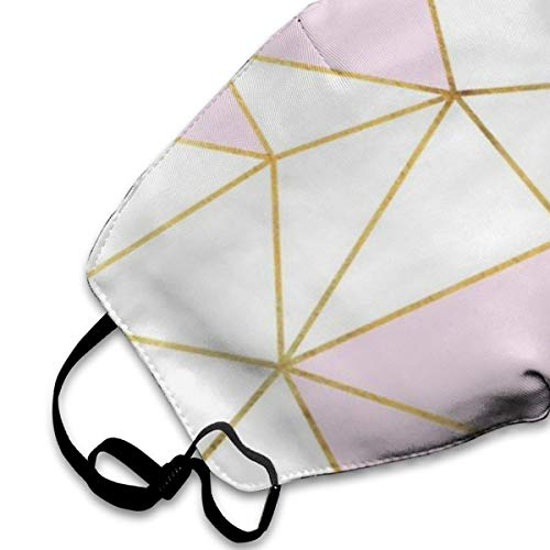 Mouth Mask Pink Gold White Lines Print Masks - Breathable Adjustable Windproof Mouth-Muffle, Camping Running for Women and Men