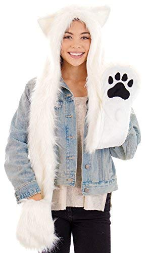 Faux Fur Animal Hoods With Attached Paws (Full Animal Hood Hoodie Hat Cap with Paw Mittens Gloves Faux Fur 3 in 1 OS White)