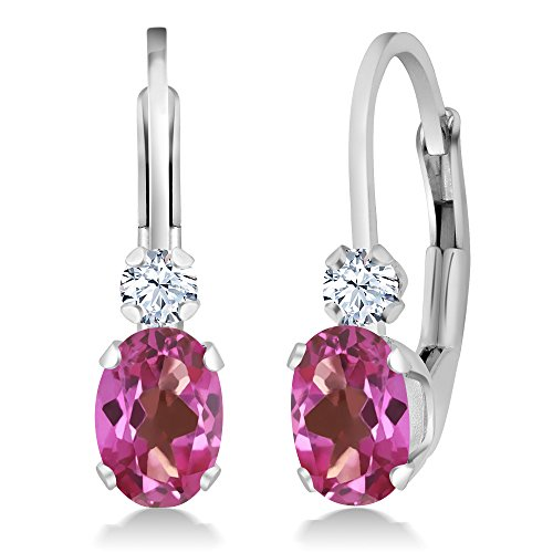Leverback Pink Sapphire Earrings (1.18 Ct Oval Pink Mystic Topaz & White Sapphire 925 Sterling Silver Leverback Earrings)