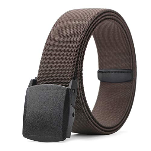 Stretch Dress Belt for Men MoAnBee Brown Men Jeans Belt Comfortable Elastic Strap No Metal Genuine YKK Quality Buckle Travel Friendly Fashion Belt Casual Fishing Pants Belt 44 Inch