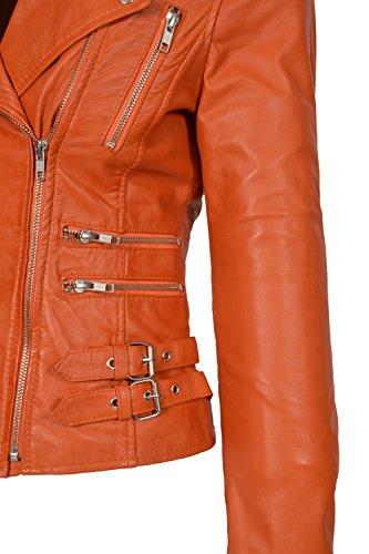Ruby chaqueta estilo colores de biker para ni de una gama de cuero de entallado para Abrigo mujer Orange en moda as nUBHqXY8