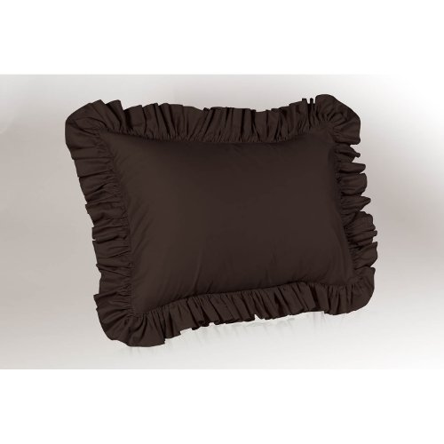 Harmony Lane Ruffled Pillow Sham, Standard Size, Brown