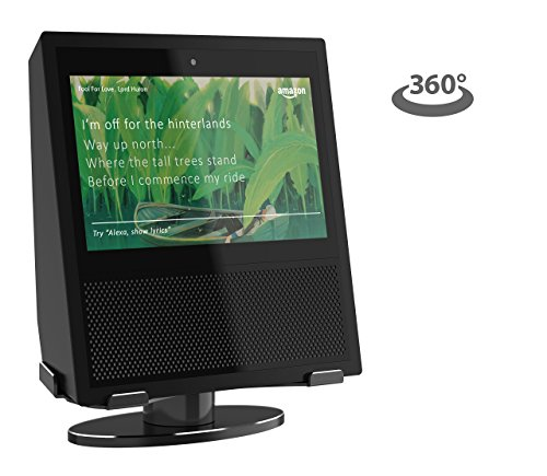 Non Tilt Stand - Echo Show Stand, 360 Degree Rotating Secure Aluminum Stand Mount, Low Profile Design with Steady and Stable Rubber Non-Scratch Base for Alexa Show (BLACK)