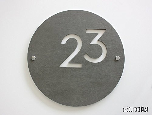 Modern House Numbers, Round Concrete with White Acrylic - Co