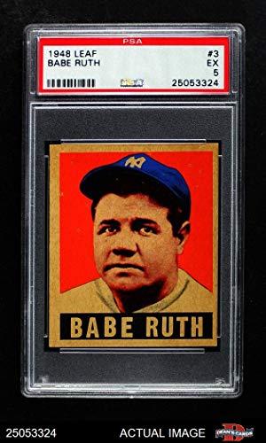 - 1948 Leaf # 3 Babe Ruth New York Yankees (Baseball Card) PSA 5 - EX Yankees