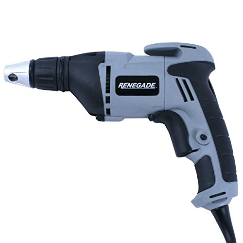 Renegade Corded Drywall Screw Gun Driver – Variable Speed 4500 RPM with Countersink Nosepiece