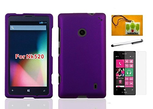 New Nokia Slide - LF4 in 1 Bundle - Hard Case Cover, Lf Stylus Pen, Screen Protector & Wiper for Nokia Lumia 520 (AT&T / T-Mobile / MetroPCS / Cricket) (Hard Purple)