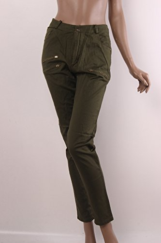 YiLianDa Mujeres Slim lápiz Pantalones Cool Skinny Pantalones Vaqueros Largos Verde