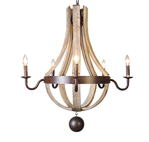 5 Light Wine Barrel Chandelier Wooden Waxed Rust Dia 30'' (Wine Light Barrel)