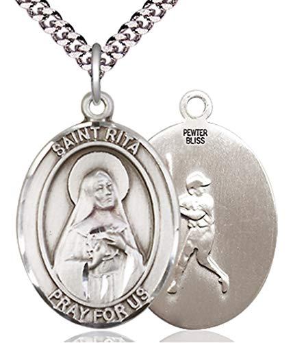 Heartland Store Men's Pewter Oval Saint Rita Baseball Medal + 20 inch Rhodium Plate Chain & Clasp